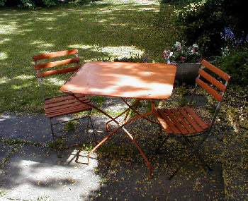 Orange garden table and chairs