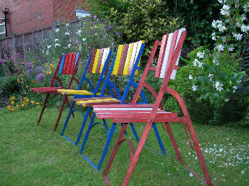Multicoloured garden chairs