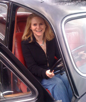 Picture of me posing in my lovely brother-in-law's gorgeous vintage car last Christmas.